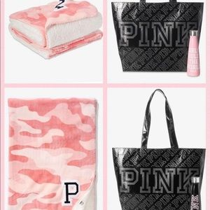 NEW PINK THROW, Tote & Water Bottle